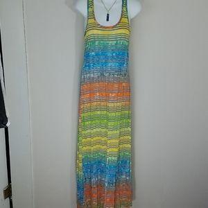 Dress tshirt racerback Maxi tie-dye rainbow stripe